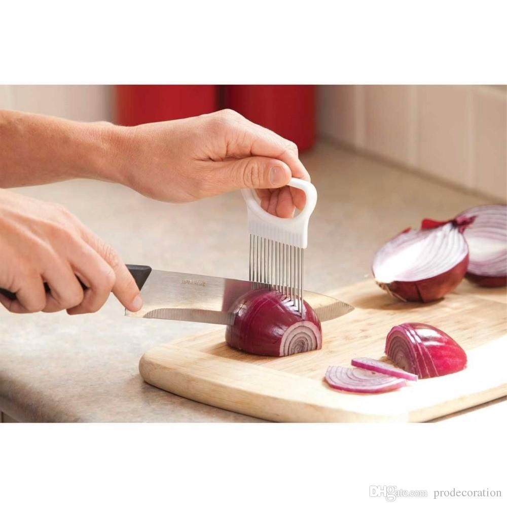Kitchen Gadgets Handy Stainless Steel Onion Holder Tomato Slicer Vegetable Cutter Safety Cooking Tools Kitchen tool