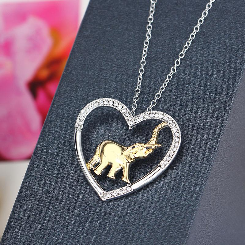 2018 hot 925 Silver heart crystal elephant Pendants Necklace statement Jewelry for women girl gift