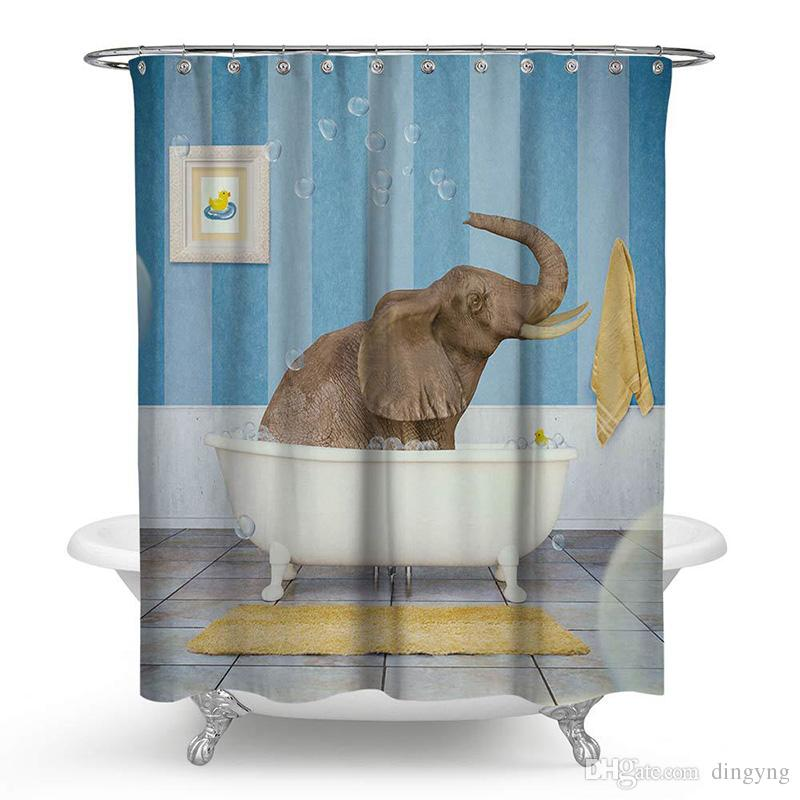 2019 150x180cm175x180cm Polyester Shower Curtain Bathing Baby Elephant 3D Waterfall Bath Scenery Waterproof Bathroom Hippie Cortina From Dingyng