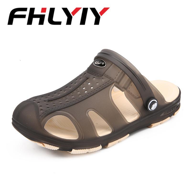 New Breathable Beach Men Sandals 2018 Summer Hollow Out Beach Water Sandals  Men Garden Hole Shoes Zapatillas Hombre Sandalias Flat Sandals Strappy  Sandals ...