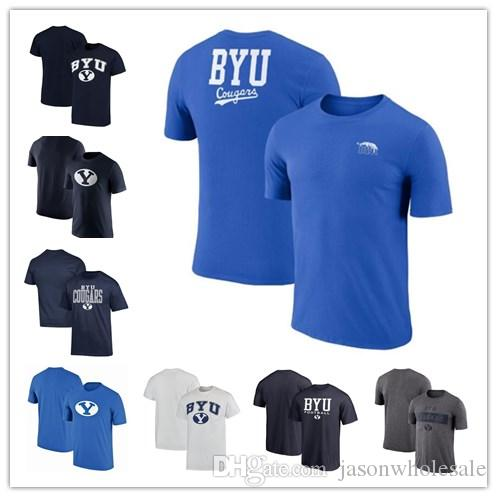 los angeles 1bf41 c0d71 Mens BYU Cougars Fanatics Branded True Sport Football Performance Cotton  Retro T-Shirt blue black white grey size S-XXXL free shipping