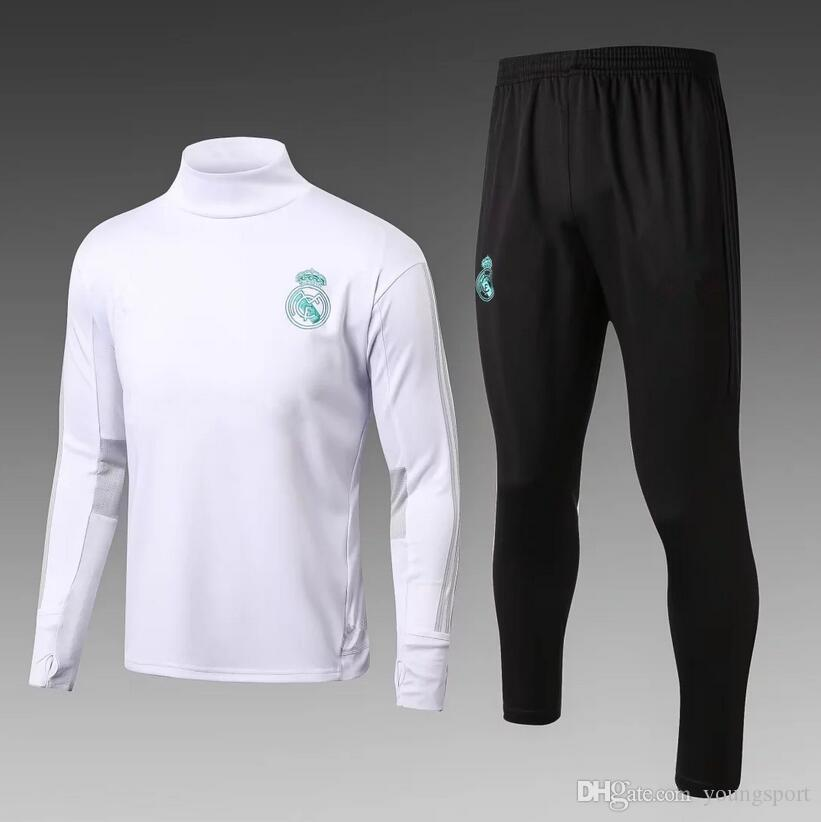 17 18 Real Madrid Men Soccer Chandal Tracksuit White Football 2017 ... f535a624c