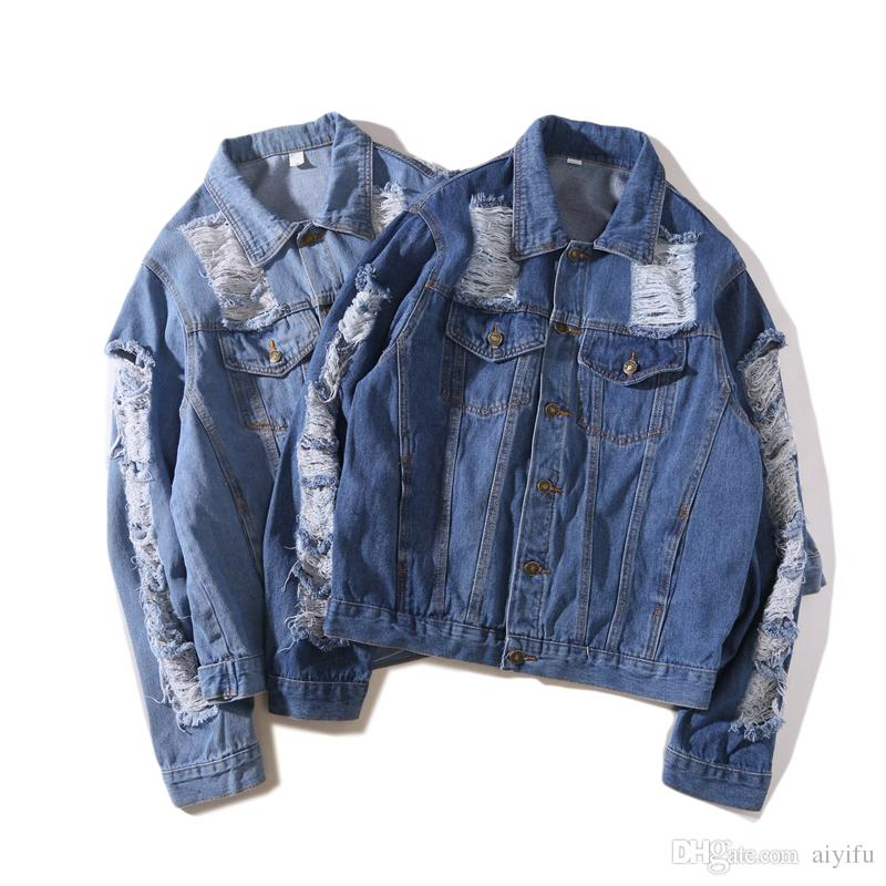 Mode Adolescent Automne Hiver Veste Jeans Usé Acheter Hommes Femmes AxddWvP