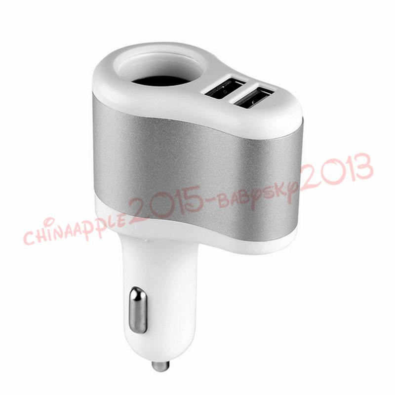 Car Charger 3.1A Dual USB One Way Car Cigarette Lighter Socket Adapter Charger for iphone Mp3 Mp4 Gps