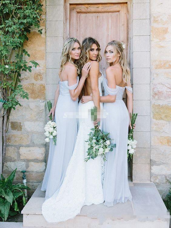 2018 Barato Light Sky Blue Off-shoulder A-Line Vestidos de dama de honor Playa Drapeada Amsale Gorgeous Bohemian Plus Size Vestidos de fiesta personalizados