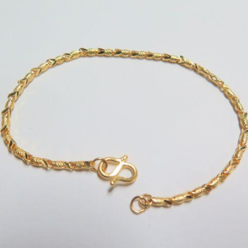 New Pure 999 24k Yellow Gold Chain Women Carved Fish Link Bracelet