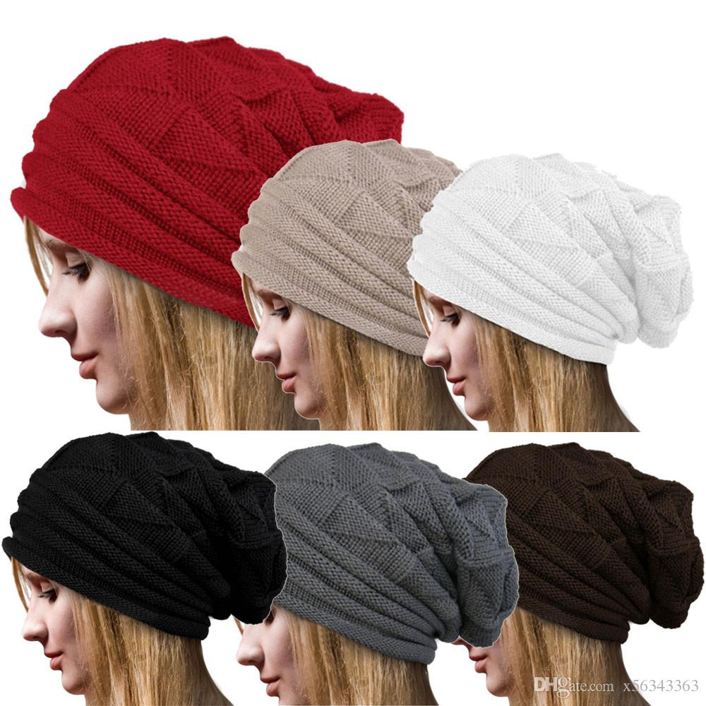54ea3beea09 Winter Men Women Knitted Caps Oversize Baggy Slouchy Skullies Beanie Warm  Autumn Outdoor Ski Hat Unisex Solid Color Knit Hip Hop Street Hats Make  Birthday ...