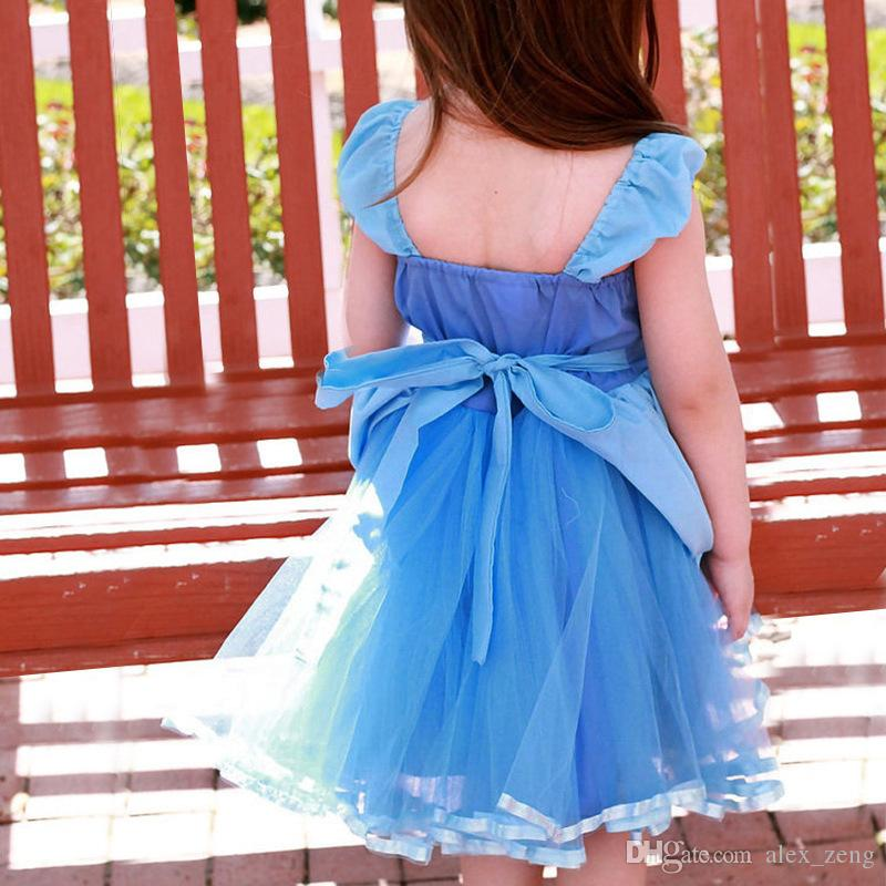 2018 nuove ragazze vestiti della neonata estate senza maniche Cinderella Princesses bambini moda pizzo garza bow bambini abbigliamento spedizione gratuita