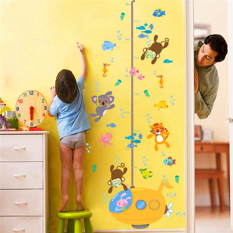 monkey koala tiger fish diving children hight masure wall stickers for kids room decor cartoon animals growth chart wall decals