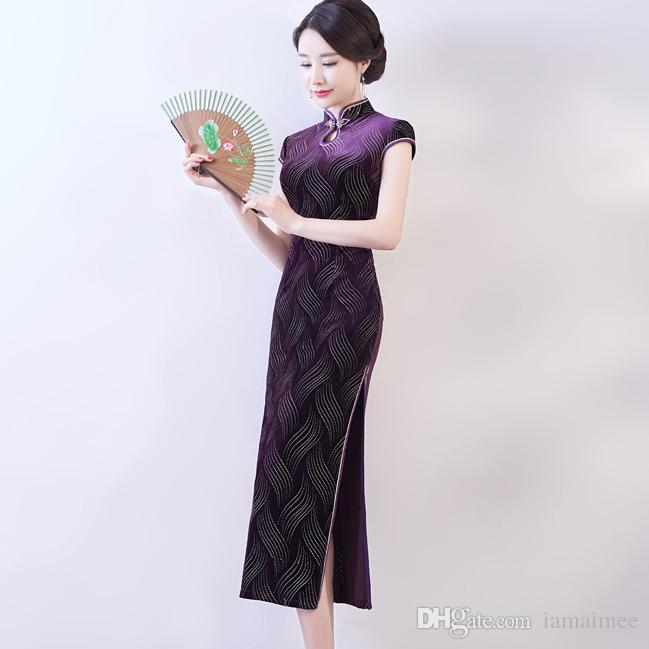 8624f8e5c4 2019 Summer Simple Elegant High Quality Plus Size Short Sleeve Velvet Rose  Red Purple Green Long Cheongsam Daily Qipao Wedding Dress Special Occasion  Plus ...