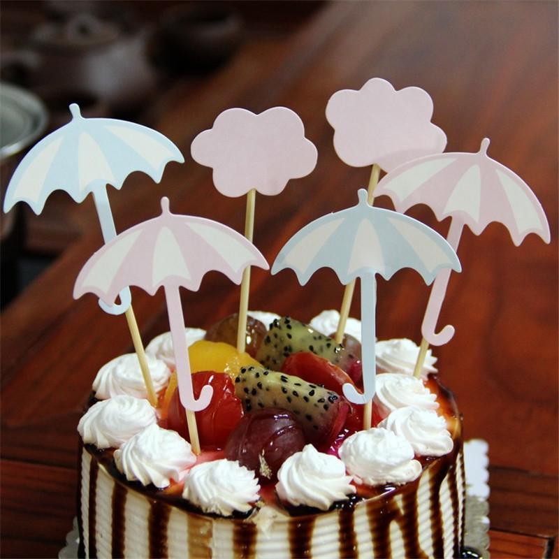 12 Stucke Regenschirm Flaky Wolken Happy Birthday Cake Topper Dekoration Kinder Geburtstag Dekorieren Pick Pock Flags Werkzeug Partei Liefert