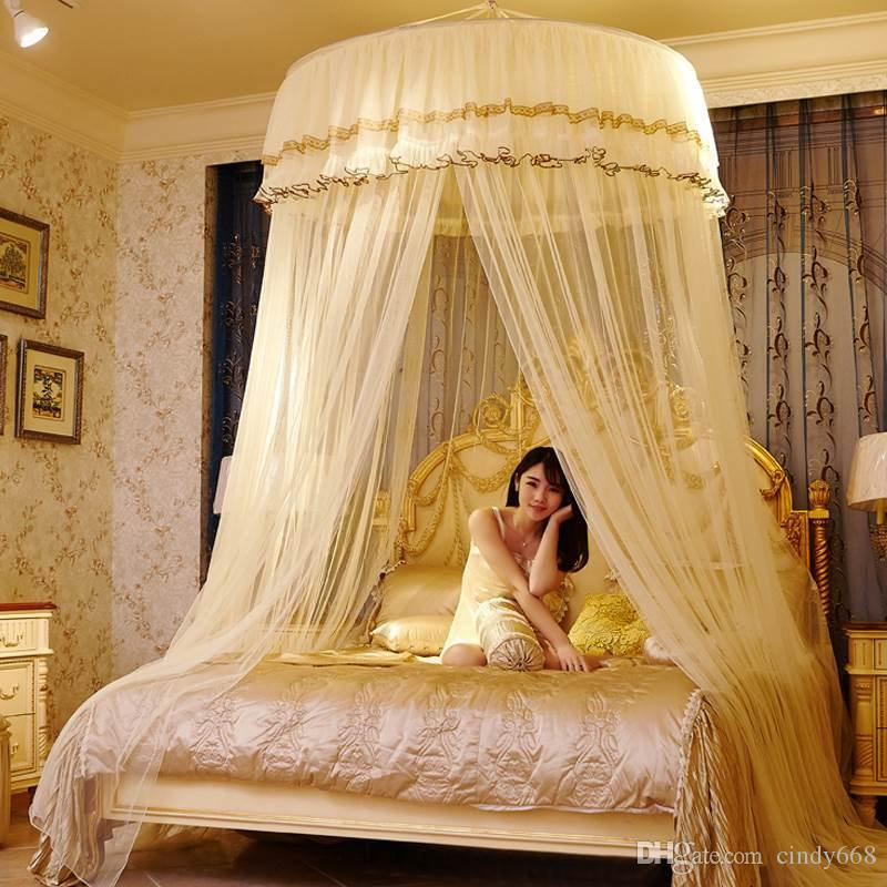 Big size double lace hung done mosquito net round bed - Canopy bed ideas for adults ...