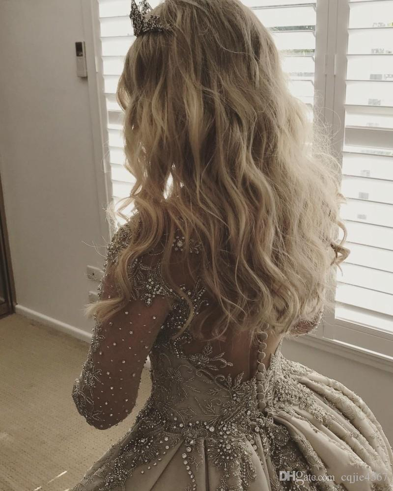 2019 новые длинные рукава кружева бальное платье свадебные платья горный хрусталь жемчужина шеи винтажное свадебное платье с бисером аппликация бальное платье свадебные платья