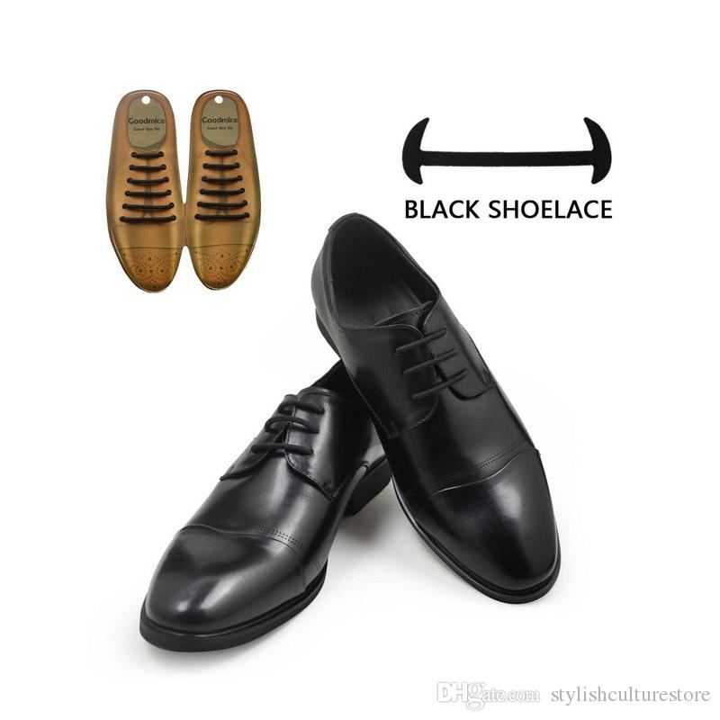 Black No Tie Lazy Shoelaces Elastic Round Waterproof Silicone Shoe laces For Leather Dress Shoes