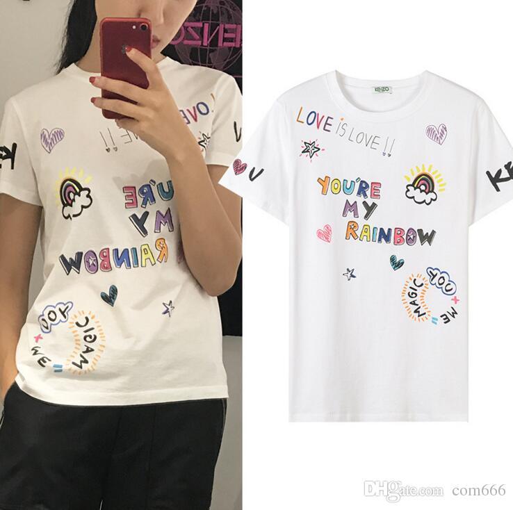 617b6a6764d8 Spring Summer 2018 Popular Logo New Multi Element Monogram Printed Short  Sleeve Men Women T Shirt Female Cotton Loose Short T. The T Shirts Shopping  T ...