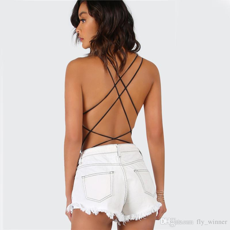 54aa6ad9a07 Strappy Backless Bodysuit Women Black Sleeveless Summer Beach Hot Bodysuits  2017 Scoop Neck Cross Slim Cami Bodysuit Women Summer Beach Sexy Jumpsuit  ...