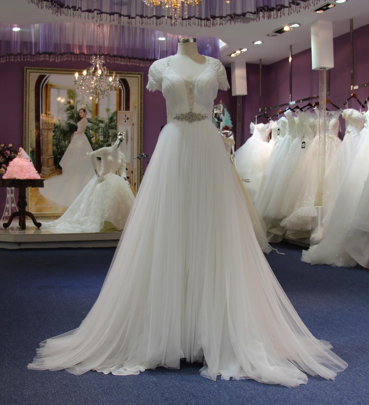 Elegant Ball Gown White Lace Wedding Dresses With Crystal Belt For ...