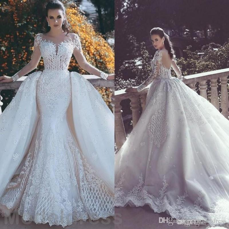 African Luxury Lace Mermaid Wedding Dresses 2020 Illusion Neck Long Sleeve Detachable Train Appliques Beaded Plus Size Arabic Bridal Gowns