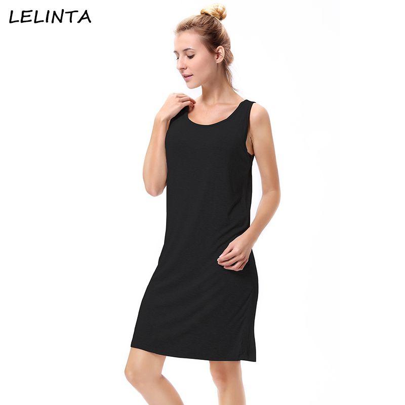 d99be98802 2019 LELINTA Female 2018 Summer Vest Swing T Shirt Dress Sleeveless Solid  Black Gray Women Comfortable Beach Casual Dresses Plus Size From Yujian18,  ...