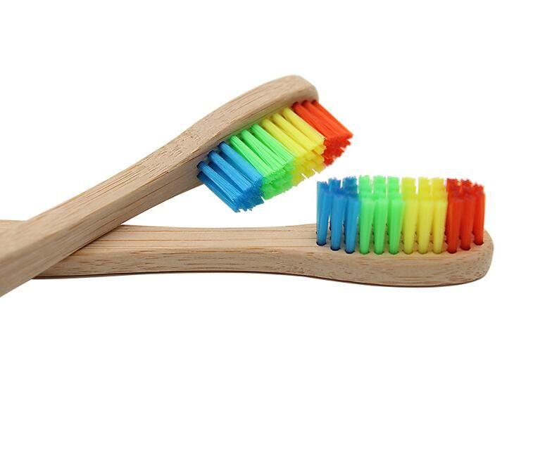 DHL Радуга Bamboo зубная щетка окружающей древесины Зубная щетка с мягкой щетиной Глава Бамбуковые ручки для взрослых Оральный зубов Уход кисти нт