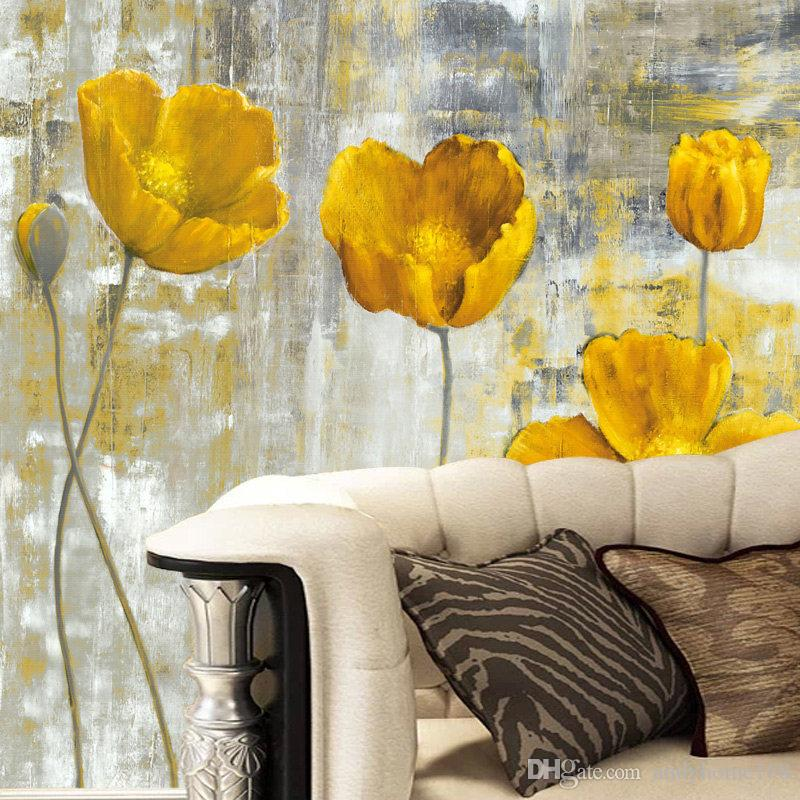 Custom 3D Wall Murals Wallpaper European Style Retro Abstract Flower Mural Art Living Room Bedroom Non-woven Backdrop Wallpaper