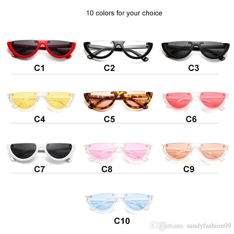 Kadın Moda Temizle Marka Tasarımcısı Güneş gözlükleri UV400 Serin Kadınlar Için Trendy Yarım Çerçeve Çerçevesiz Kedi Göz Güneş Gözlüğü óculos de sol