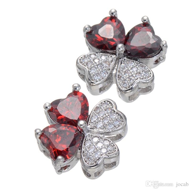 Wholesale Handmade DIY Jewelry Accessories 13mm Luxury Zircon Red Crystal Clover Flower Charm Beads Fit Bracelet Necklace Connector Findings