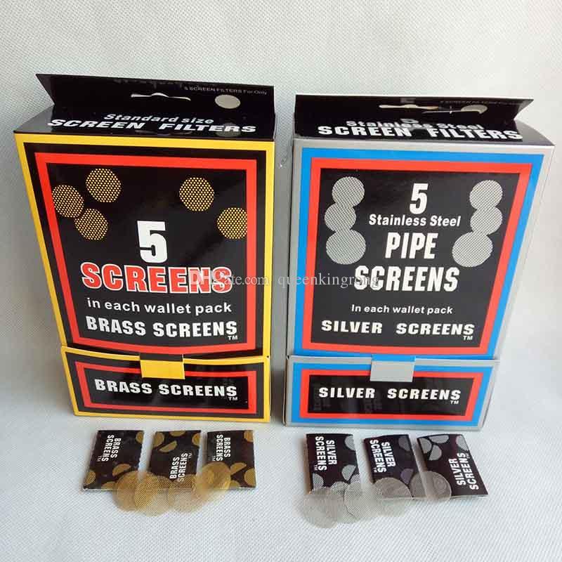Pantalla de latón Accesorios para fumar Pantallas de acero inoxidable Plata / color dorado 20 mm para metal Accesorios de herramientas de tubería de tabaco 500 unids / lote