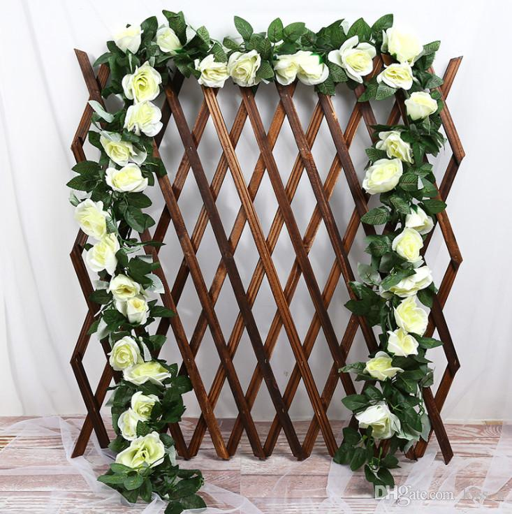 230cm Fake Silk Roses Ivy Vine Artificial Flowers With Green Leaves