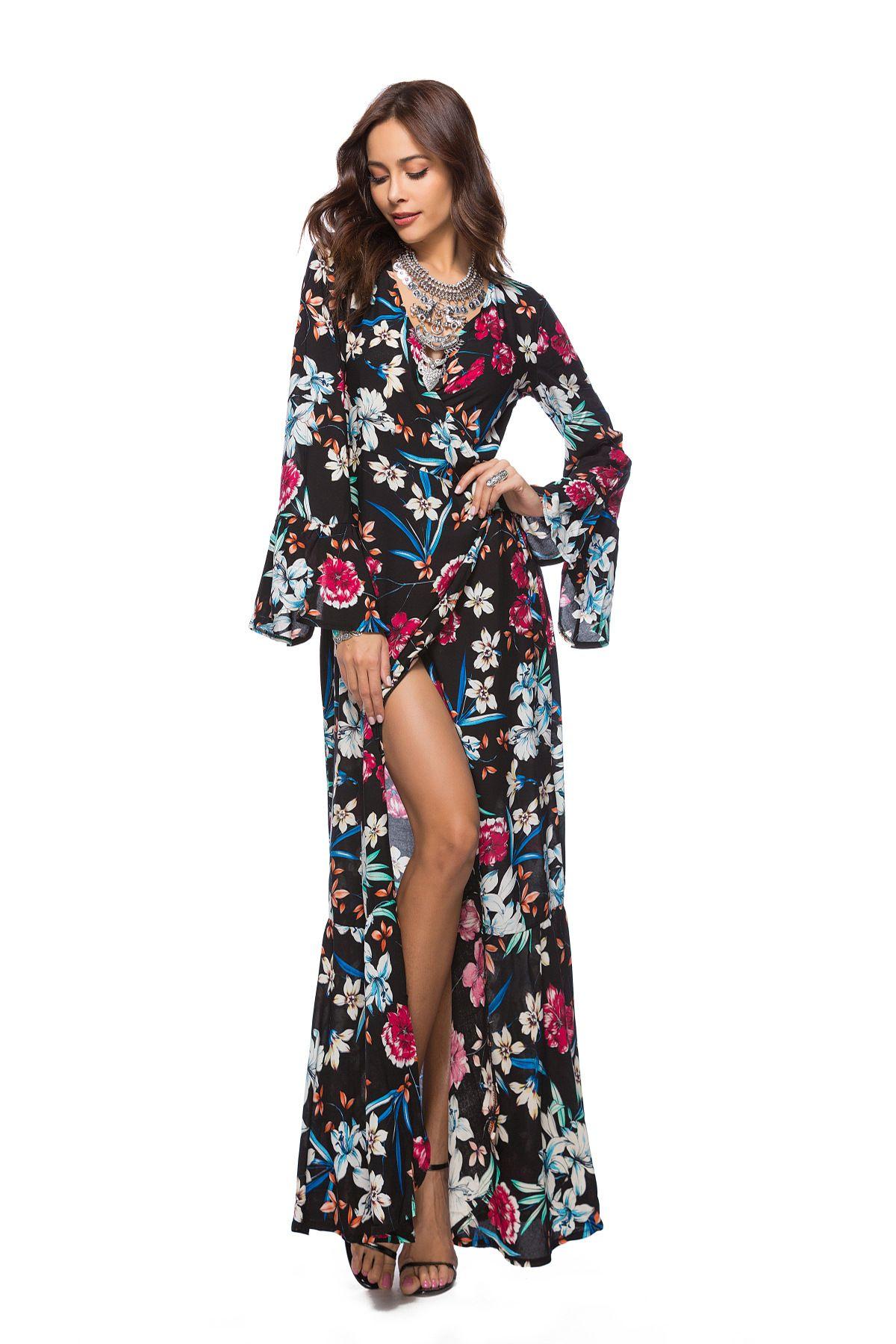 d3fe811fd33 Boho Women Casual Maxi Dress Retro Floral Print Dresses Beach Robe Femme  Fashion V Neck Flare Sleeve Autumn Split Sexy Dress Plus Size Dress For  Cocktail ...