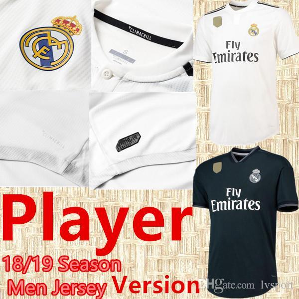 Compre 2019 Liga Dos Campeões Versão De Jogador De Futebol Jersey 18 19  Real Madrid Casa Camisa De Futebol   7 Ronaldo   8 Kroos   22 Isco Fora  Uniforme De ... b855aaef8d741