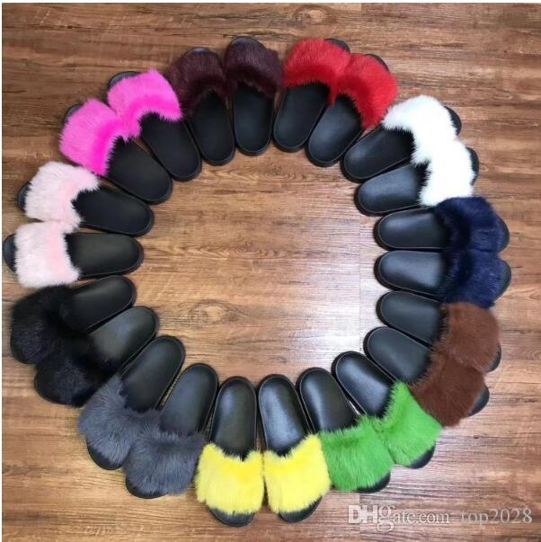 Women Mink plush slippers soft Colorful Luxury Wool Boutique noble Fashion Brand FLat Male female couple style Slippers Plus Size