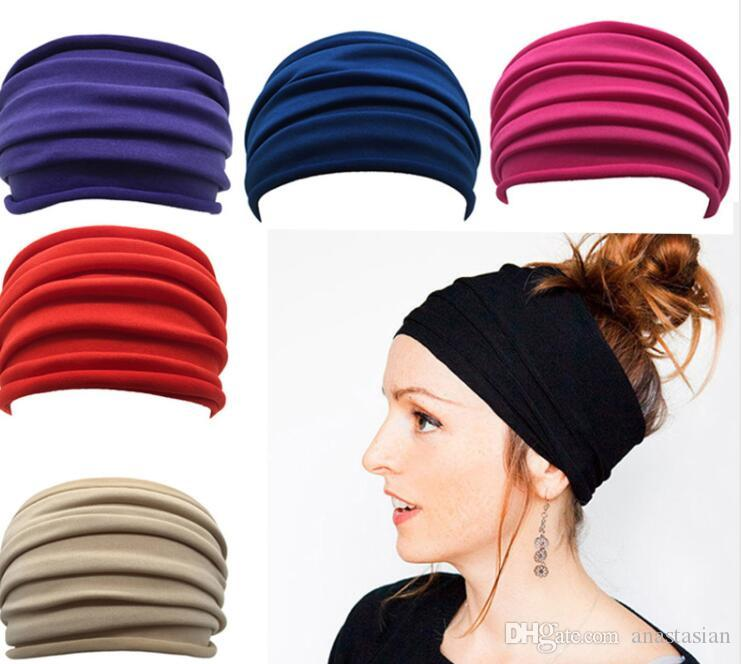 473929813f18 Women Wide Sports Yoga Nonslip Headband New Stretch Boho Hairband ...