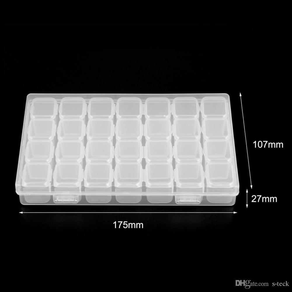 28 Grids Empty Nail Art Decoration Storage Case Box Nail Glitter Rhinestone  Crystal Beads Accessories Container Nail Tool Clear Nail Art Youtube  Acrylic ... 34e746e3ec2a