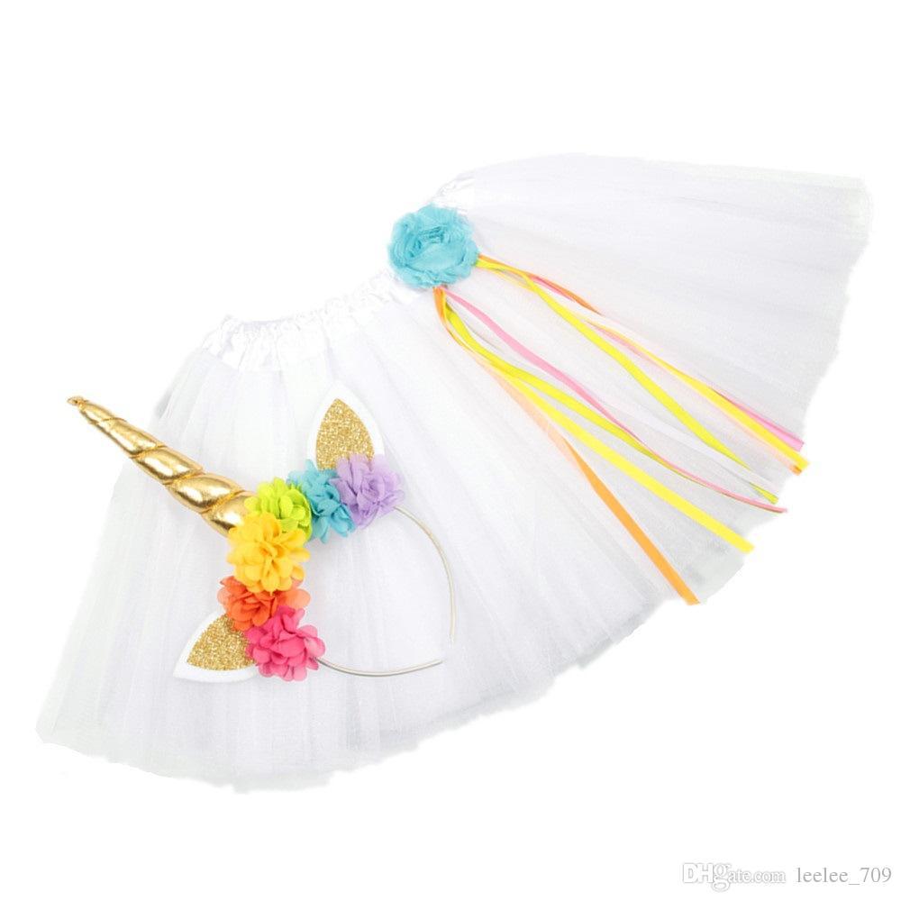 Girls INS Unicorn TUTU skirt +hair accessory sets 2018 New summer lace Bow flower decoration short skirt kids dress 1~6years B001