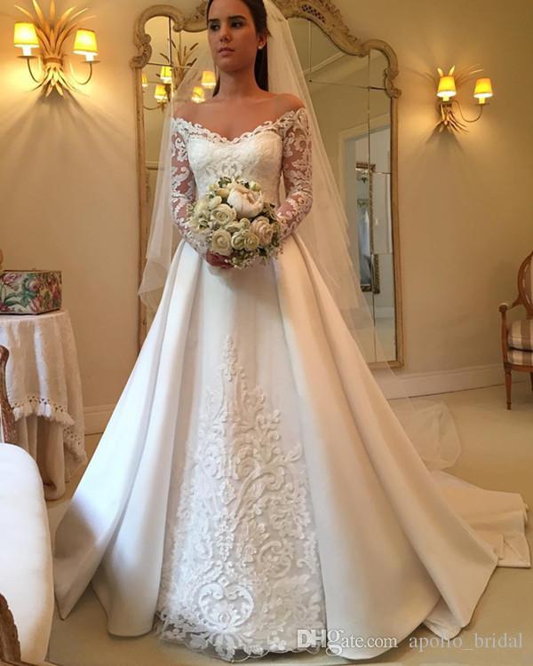 2020 País vestidos de noiva A Linha Alças manga comprida Varrer Vestidos Train vestidos de noiva Com Lace Applique Satin Plus Size