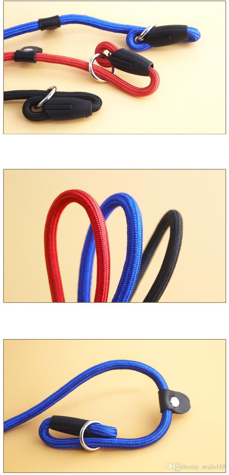 Chien de compagnie Nylon Corde Entraînement Laisse Glissière Courroie de traction Collier réglable Traction Animaux Animaux Corde Fournitures Accessoires 0.6 * 130cm HH7-1173