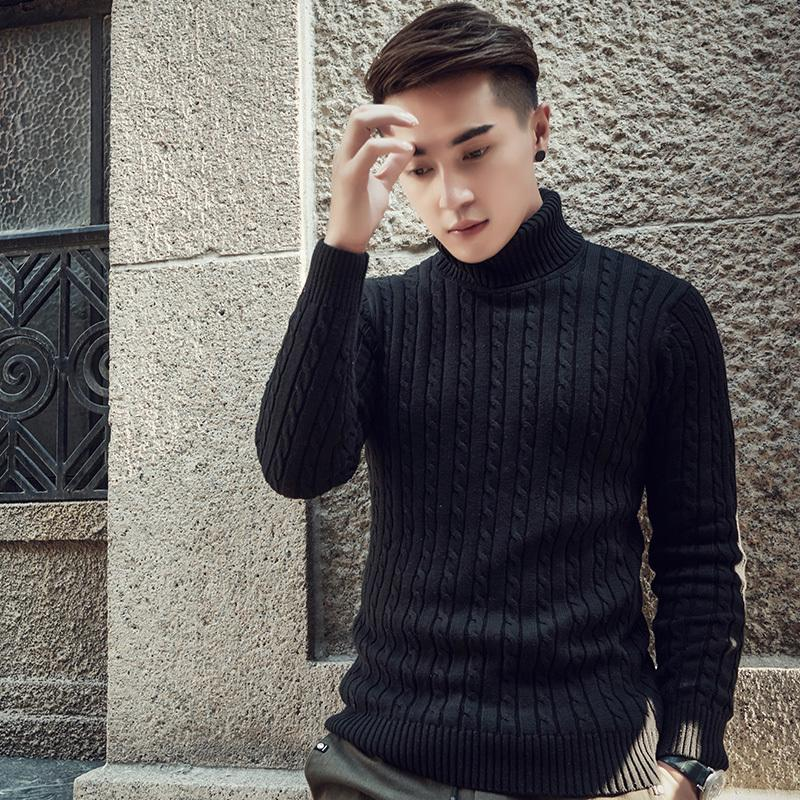 df40efe086 2019 2018 Fall Winter Thick Warm Cashmere Sweater Men Turtleneck Men Brand  Mens Sweaters Slim Fit Pullover Men Knitwear Double Collar D1892901 From  Yizhan01 ...