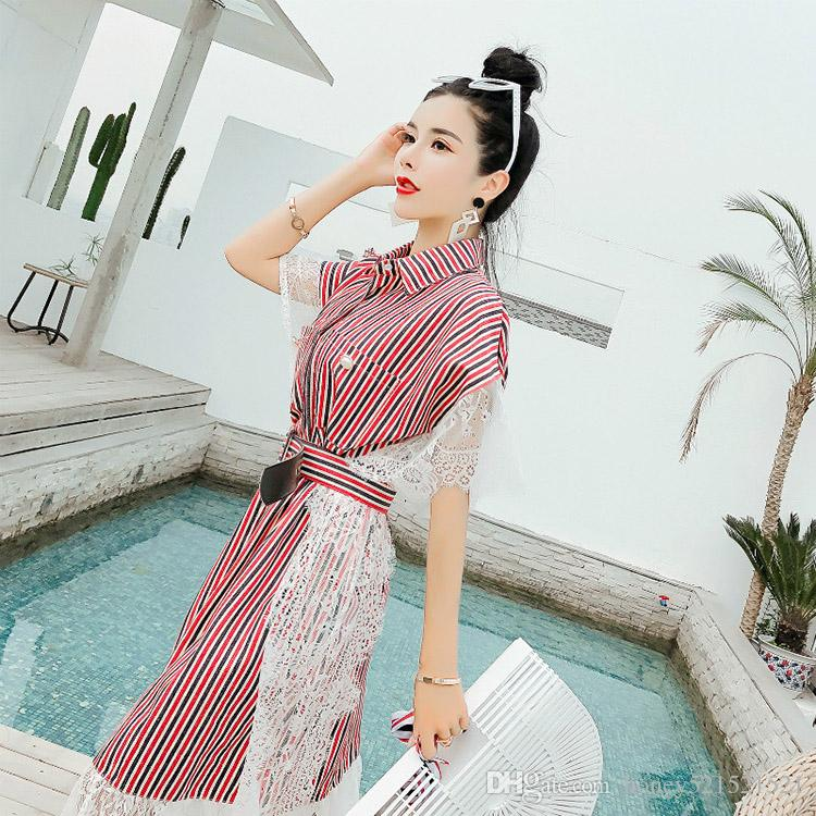 Yeni Tasarım Moda kadın Turn Aşağı Yaka Denim Kot Patched Dantel Batwing Kısa Kollu Kemer Sashes Bluz Gömlek Elbise Ile Gevşek