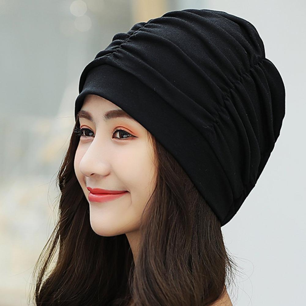 bbffcceb547db Women S Plain Beanie Hat 2018 Spring Cotton Slouchy Beanie For Women  Knitted Bone Hat Ladies Black Skullies Cap Winter Crochet Beanie Pattern  Beard Beanie ...