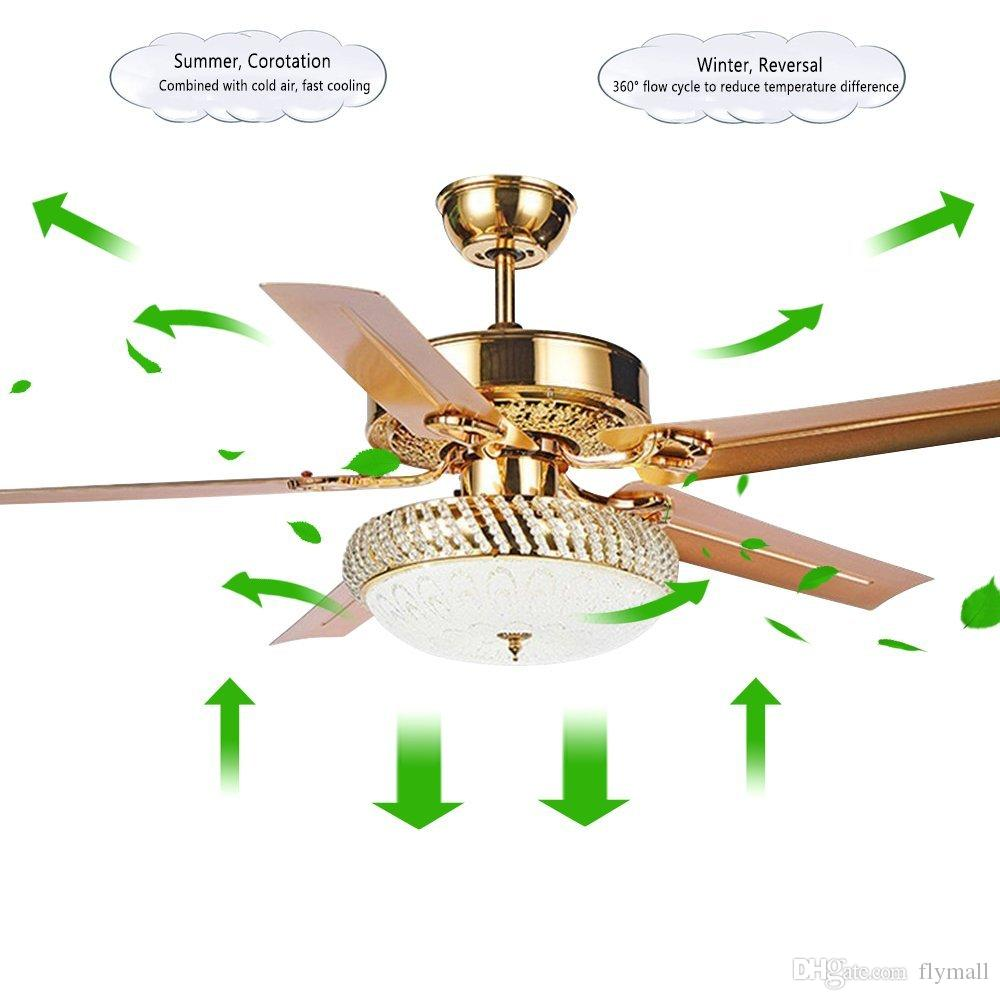Современный потолочный вентилятор лампа LED 3 изменение света 5 обратимые лезвия хрустальные люстры свет с пультом дистанционного управления немой энергосберегающий вентилятор