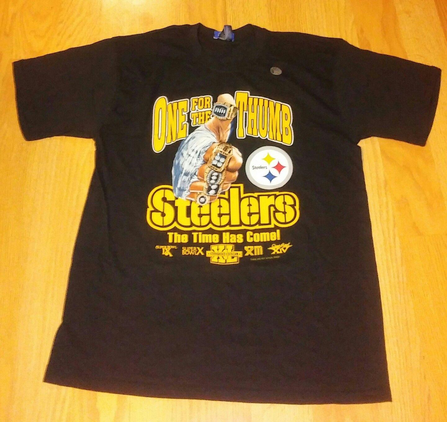 Pittsburgh Steelers XLII One For The Thumb Team T Shirt L NWOT Hot 2018  Summer Newest Men S T Shirt Fashion Designable T Shirts Buy Funny Shirts  From ... e021ae67d