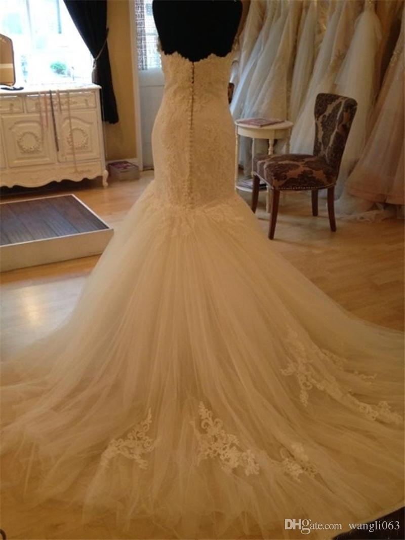 Vintage Lace Mermaid Wedding Dresses Real Images Sweetheart Court Train Ivory Tulle Plus Size Court Train Bridal Gowns