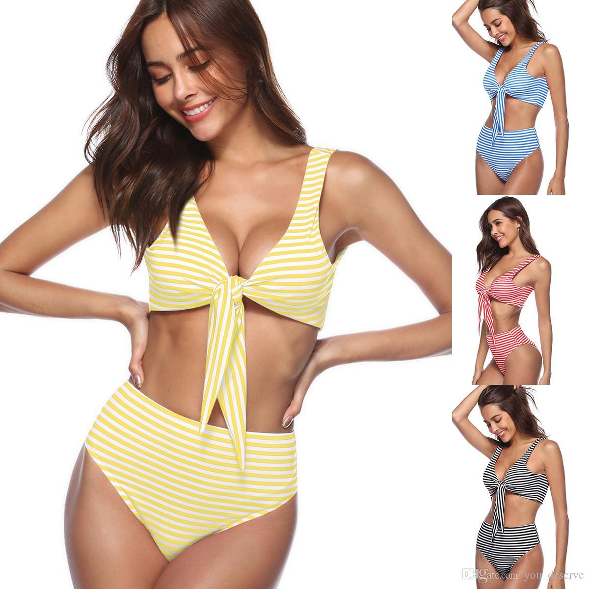 26e0be21c28 2019 2018 New Bikini Set Summer Striped High Waist Swimwear Brazilian Bikini  Women Beach Wear Bathing Suit Popular Female Swimsuit Hot Selling From ...