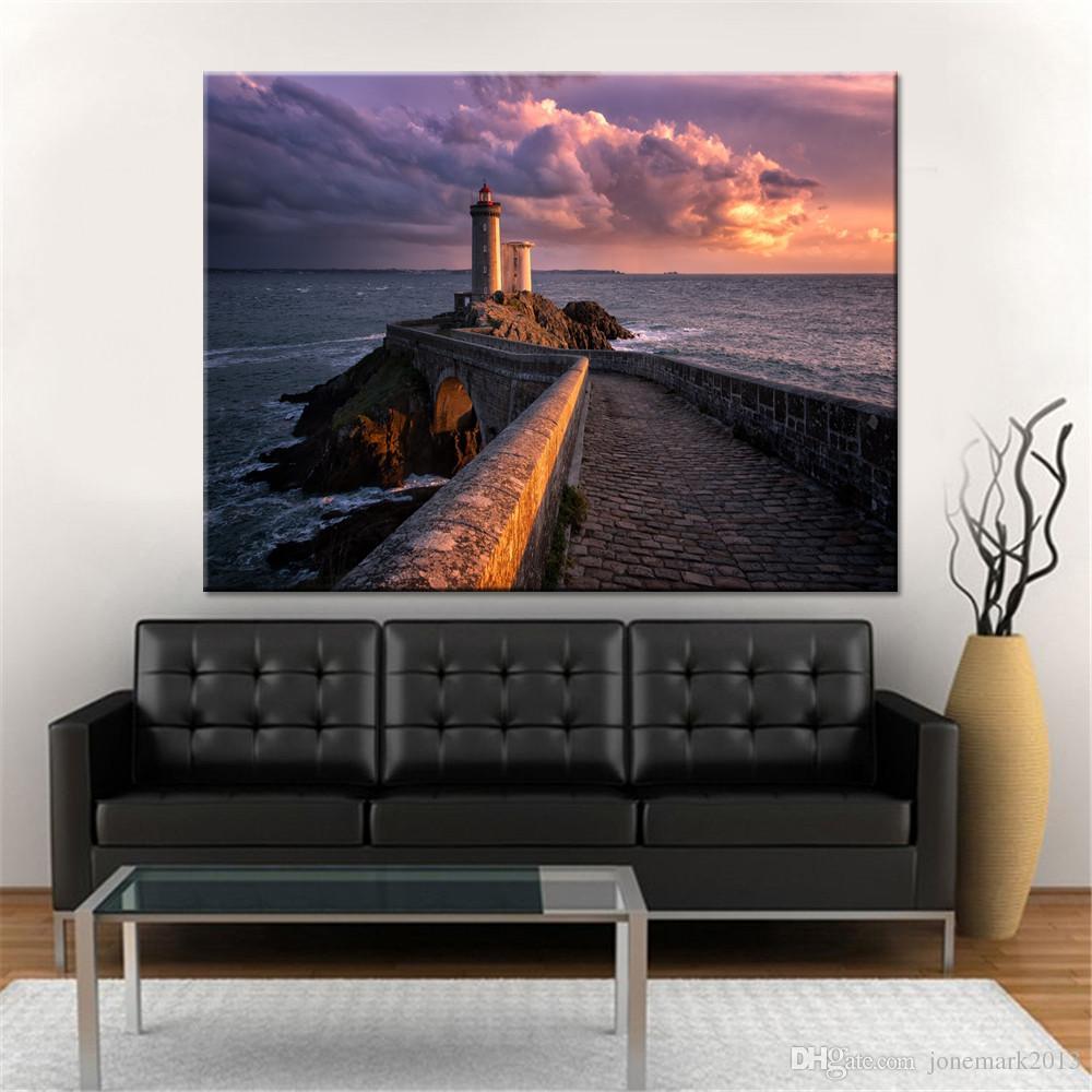 Impressions HD Photos Décor À La Maison Affiche Cadre 1 Pièce / Pcs Phare Vues Sur La Mer Ondes Toiles Peintures Pour Salon Wall Art