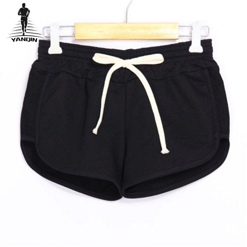 d57919518f YANQIN Yoga Running Drawstring Sport Shorts Women Loose Cotton ...