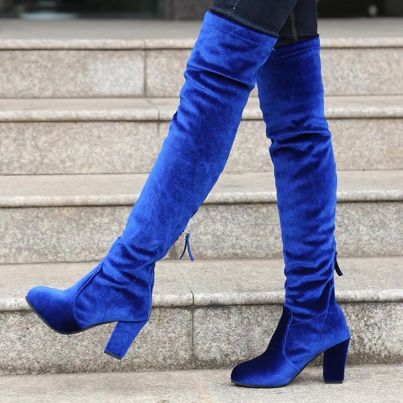 b22a6eb20 Square High Heels Slim Boots Female Over The Knee Boots Women Motorcycle Boot  Plus Size Women's Thigh High Shoes Woman