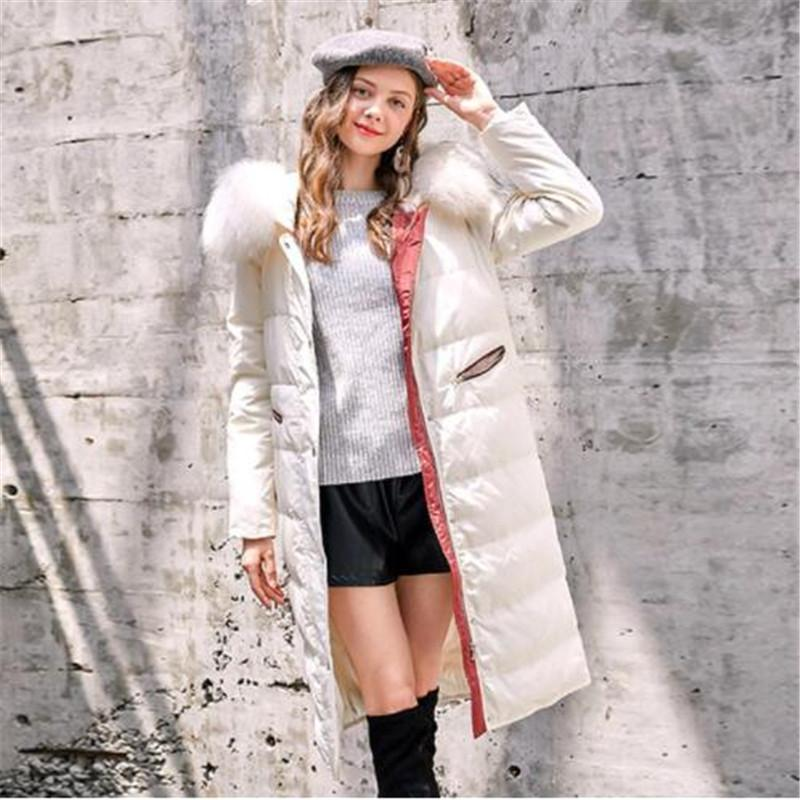 225ae93f03e67 2019 Fresh And Elegant Brand Name Autumn And Winter Women S Down Jacket  Large Fur Collar Long Hooded Women S Winter Coat Jackets From Yanmai