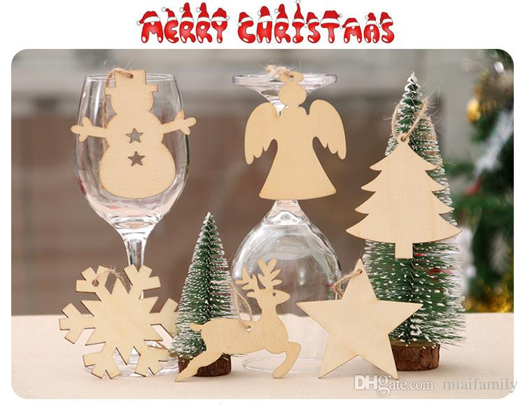 christmas tree ornaments wood chip snowman tree deer socks hanging pendant christmas decoration xmas gift crafts wholesale christmas ornaments wooden - Wooden Christmas Tree Ornaments