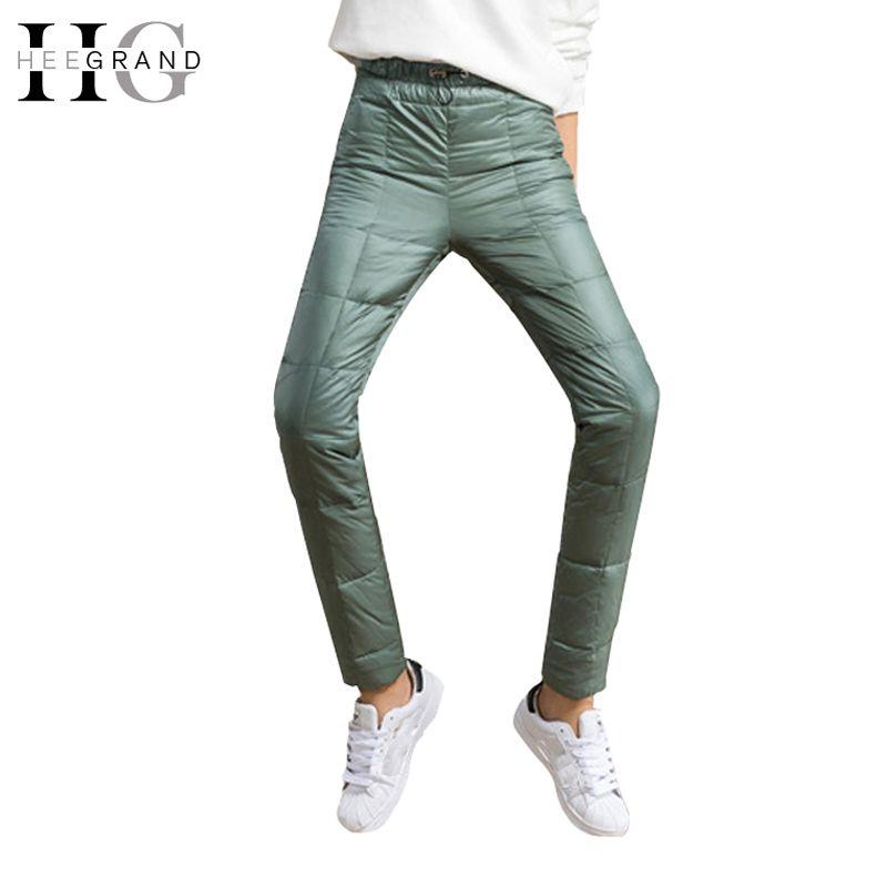 697e87d7eb4 HEE GRAND 2017 Winter Down Pants Women Casual Outwear Elastic Waist ...